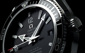Wallpaper black and white, dial, arrows, watch, Omega