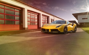 Picture machine, yellow, Ferrari, supercar, supercar, yellow, the front, Rosso, Novitec, 488 GTB