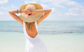Picture sea, summer, girl, hat