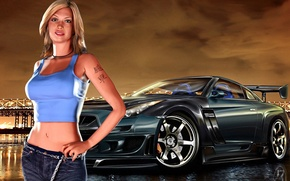 Picture girl, the city, race, Need for Speed, Underground