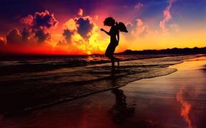 Wallpaper sunset, angel, silhouette, surf