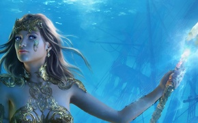 Picture crystal, girl, decoration, art, spear, under water
