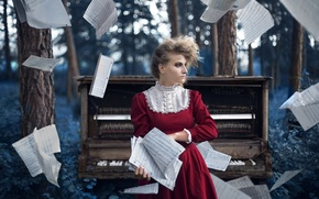 Picture girl, notes, music, piano