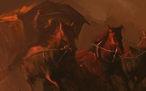 Picture horse, coach, art, horses