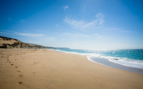 Picture sand, sea, beach, summer, the sky, water, landscape, traces, nature, background, widescreen, Wallpaper, wave, wallpaper, …