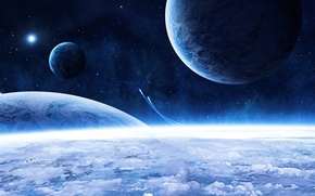 Picture stars, clouds, planet, blue beauty, spaceships, beautiful blue