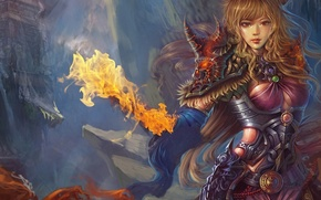 Picture flame, Girl, armor, gorge, fortress