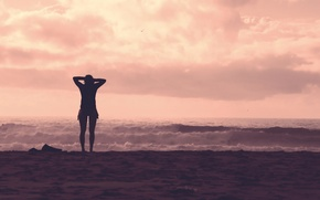 Picture sea, wave, beach, girl, horizon