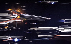 Picture space, the explosion, war, ships, Mass Effect