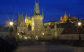 Picture night, lights, tower, Prague, Czech Republic, Cathedral