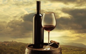 Picture the sky, clouds, background, wine, red, glass, bottle, barrel, corkscrew, the vineyards