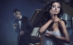 Picture music, male, piano, Beauty, sexy woman