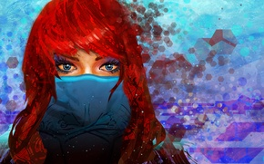 Picture look, girl, mask, art, blue eyes, red hair