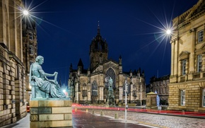 Picture night, lights, street, home, Scotland, lights, Cathedral, temple, Edinburgh, St Giles Cathedral, pamyatntki, St. Giles ...