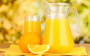 Picture glass, table, orange, juice, pitcher, fruit, citrus
