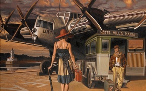 Picture machine, the plane, umbrella, woman, figure, back, hat, male, suitcase, Peregrine Heathcote