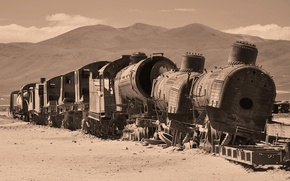 Picture desert, train, cars, the ruins