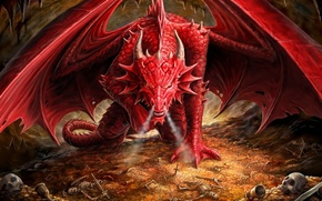Picture Dragon, handsome, The hobbit, The Hobbit, Smaug, Dragon's Lair. Anne Stokes, Ironshod
