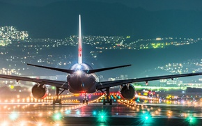 Picture lights, airport, night, Osaka, the plane, Japan