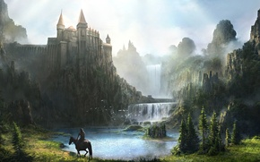 Picture mountains, river, castle, rocks, horse, waterfall, armor, art, rider, fortress