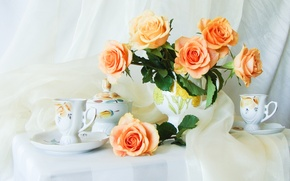 Picture kettle, flowers, table, bouquet, roses, flower, still life, gentle, silk, Cup, beautiful, tablecloth, silk, buds