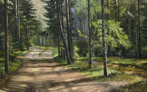 Picture summer, trees, landscape, oil, pine, painting, canvas, path, crown, Lutsenko, on a forest road
