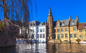 Picture home, Belgium, Bruges, Brugge, water channel
