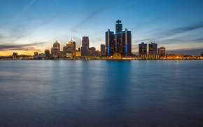 Picture skyline, evening, Detroit, Ontario, blue hour, Windsor
