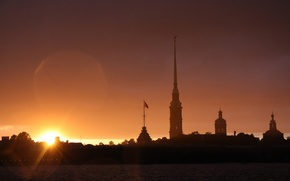 Picture sunset, Peter, Saint Petersburg, Peter and Paul fortress