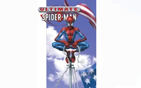 Picture the sky, clouds, the wind, white background, American flag, comic, Marvel Comics, Spider-Man, Peter Parker, …