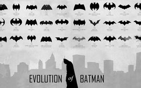 Picture batman, hero, logo, trade mark, evolution of batman