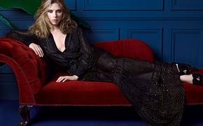 Picture girl, sofa, wall, dress, beautiful, lies, Scarlett Johansson, Scarlett johansson
