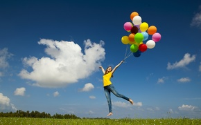 Picture the sky, grass, girl, clouds, balls, flight, joy, happiness, balloons, soaring