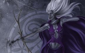 Wallpaper girl, web, bow, Archer, art, elf, white hair, drow