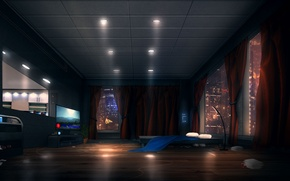 Picture light, room, Windows, bed, apartments, sci-fi