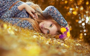 Picture look, girl, flowers, face, background, Wallpaper, mood, flowers, m ring, autumn. leaves