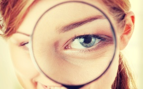 Picture sexy, redhead, look, magnifying glass eye effect