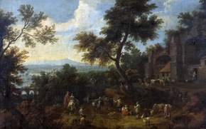 Picture trees, landscape, bridge, people, picture, Adrian Frans Boudewyns, A halt in the Path