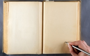 Picture paper, pen, hand, book, turn, page