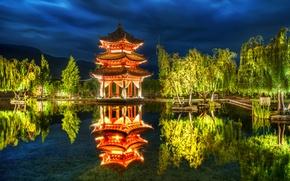 Wallpaper trees, pond, Park, reflection, China, China, pagoda, Lijiang
