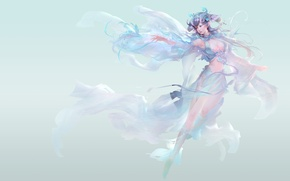 Picture tenderness, the game, anime, art, girl. the wind