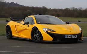 Picture McLaren, Yellow, McLaren, Lights, Drives, Supercar, Yellow, Hypercar, Track, Supercar, Hypercar, Spoiler