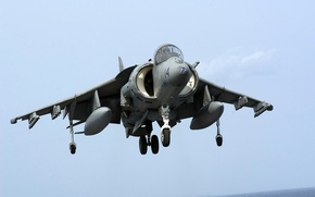 Picture the carrier, landing, harrier