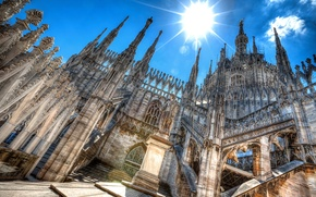 Picture the sky, the sun, Italy, Cathedral, Milan, Duomo