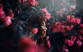 Picture girl, flowers, face, background