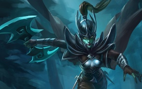 Picture girl, weapons, attack, art, cloak, Dota 2, Phantom Assassin, Mortred