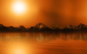 Picture water, the sun, mountains, surface