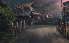 Picture summer, light, trees, street, home, anime, railroad, Catchers of forgotten votes, Hoshi wo ou kodomo
