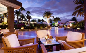 Picture palm trees, the evening, terrace, seaside hotel
