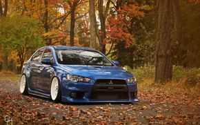 Wallpaper Mitsubishi, Lancer, Evo, Autumn